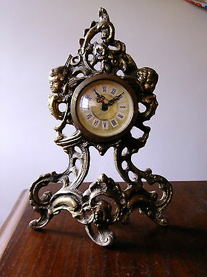 Vintage MERCEDES Brass Mantle Clock Manufactured  Germany Height 225mm