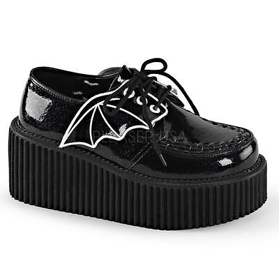 Demonia by Pleaser CREEPER-205 Platform Creeper With Bat Wings Detail Black