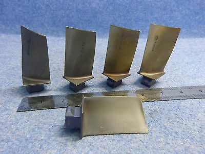 Lot of 5 Scrap Titanium Turbine Engine Blades only for collectors/art