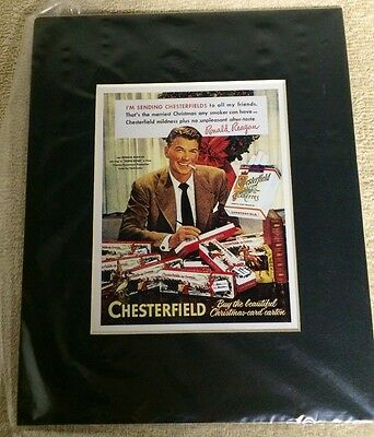 Ronald Reagan Chesterfield Cigarettes Matted Ready For The Wall 5x6 In 8x10