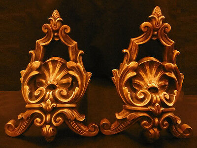 Pair Of Andirons, Louis Xv Style, 19Th - Bronze - French Antique