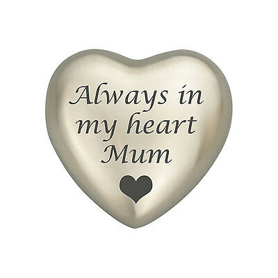 Always In My Heart Mum Silver Coloured Heart Urn Keepsake for Ashes Cremation