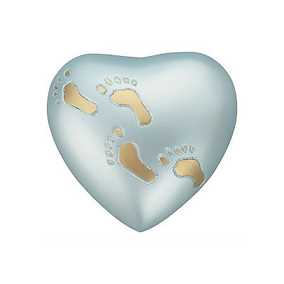 Baby Blue Footprints Heart Urn Keepsake for Ashes Cremation Cremains