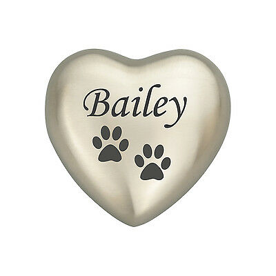 Personalised Paw Silver Coloured Heart Urn Keepsake for Ashes Cremation