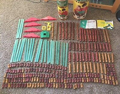 Vintage Lincoln Logs Lot Wooden Educational Building Toy