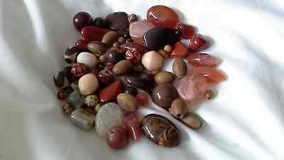 Collection Of Mixed Vintage Beads And Stones For Restringing