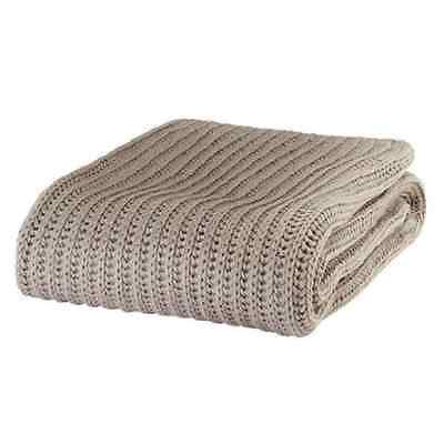 Just Contempo Chunky Knitted Throw 125 x 150 cm - Natural Beige - UK SELLER