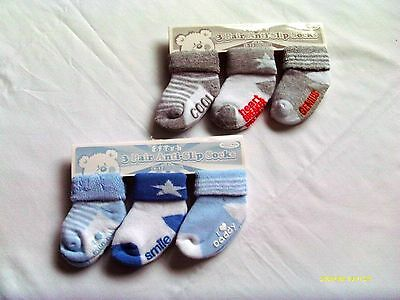 Baby Boy  3 Pack Anti Slip Socks