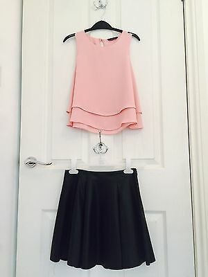 Girls Black River Island Skirt Age 10 and Matalan Pink Top Age 10