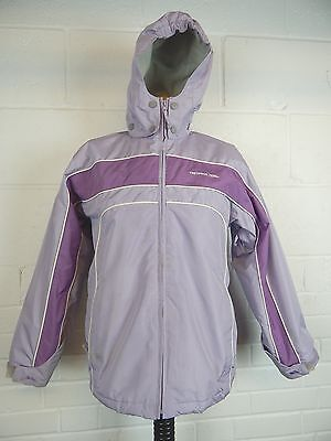 Girls Trespass Coldheat hooded winter ski jacket in mauve age 11-12 years childs