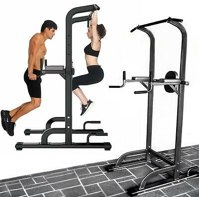 Fitness Power Tower Chin Dip Pull Push Up Station Home Gym Exercise Knee Raise