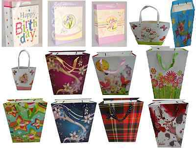 Gift Bags Pack Of 12 Large Huge Selection Small Medium Large Christmas Birthdays