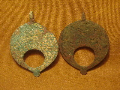 ancient Islamic bronze 2 pendants c.1200 AD