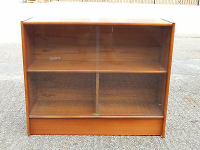 Mid century teak glazed bookcase with sliding glass doors - ideal large books