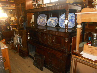 Period Welch  Oak Trident Cupboard 1688 Carved Detail Original Condition 3 Tier
