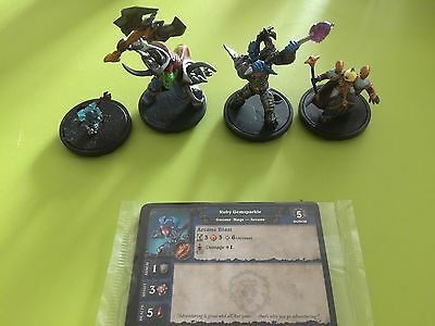 World of Warcraft miniatures lot 4 starter minis with cards