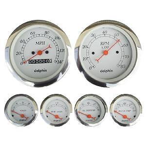 Dolphin 6 Gauge Mechanical Speedo Set White With Red Needles Hotrod/streetrod