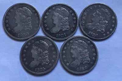 1830, 1831 and 1837 Capped Bust Half Dimes - Fine to F+
