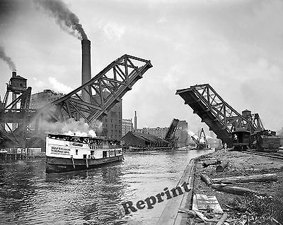 Photograph Vintage Chicago 12th St Bascule Bridge &  Weston Boat Year 1900  8x10