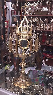 Antique 19th C Styl Gild Solid Silver Monstrance & 41 Ruby & 8 Persian Turquoise