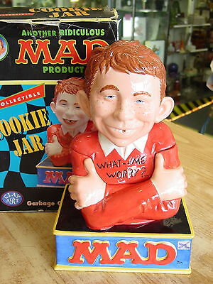 "Mad - "" What Me Worry? "" Cookie Jar Clay Art #8864 W/ No Damage And Box"