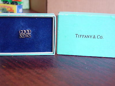 Vintage Tiffany & C0  Good News Sterling Silver Tie Tack Lapel Pin In Box
