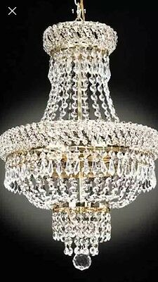 3 LIGHT FRENCH EMPIRE STYLE CRYSTAL CHANDELIER In GOLD-DINING ROOM ,BEDROOM