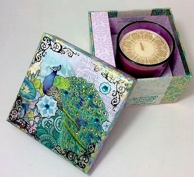 Punch Studio Royal Peacock Embellished Keepsake Box w/Scented Candle Music box