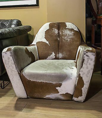 Vintage Tub Relax Easy Chair Retro 60s 70s Industrial Cowhide Chrome Mid Century