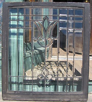 Antique Arts And Crafts Style Tulip Beveled Glass Window