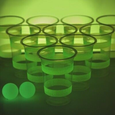 Glow In The Dark Beer Pong Glowing Drinking Game Party Fun Incs 22 Cups 2 Balls