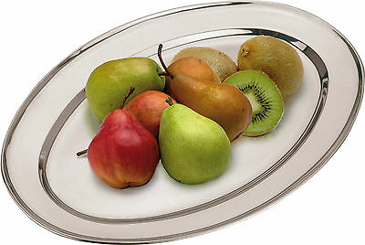 Elegant Oval Serving Platters Trays Stainless Steel Dish Large Party Platter