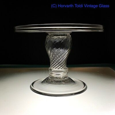Georgian Silesian Wrythen Hollow Stem Folded Foot Glass Tazza 1750
