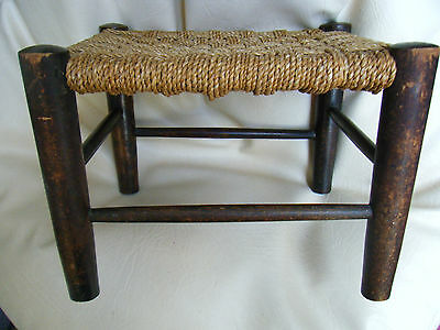 Antique Victorian Oak With Rope Work Seat Small Footstool
