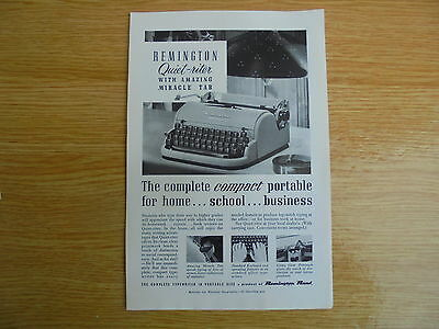 vintage glossy advert for the remington quiet-riter typewriter,10x6.75 inches