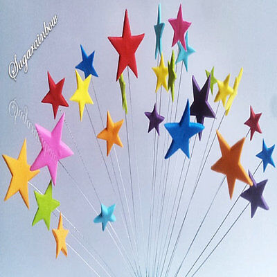 24 edible sugar paste stars on wires wired cake decorations toppers bright color