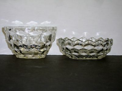 JEANETTE CLEAR GLASS CUBE / CUBIST Berry Custard Cup & Low Dessert Bowl