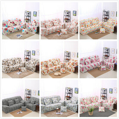 Floral Series Spandex Stretch Fitted Sofas Slip Cover Slipcover for 1 2 3 4 seat