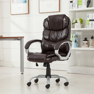 New Mocha Leather Ergonomic Office Executive Chair Computer Desk Task Hydraulic
