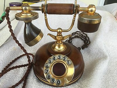 Vintage  Rotary Dial Phone  Wood, Brass,