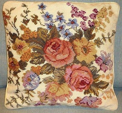 1 X PAIR of FLORAL ROSES / POSY HANDMADE TAPESTRY NEEDLEPOINT CUSHIONS (2)