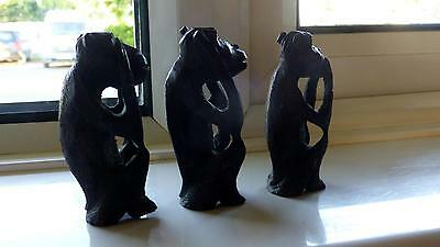 Antique Three Wise Monkeys Solid Wood ( Black Forest )