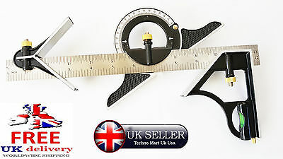 "12"" Combination Square 300mm & Adjustable Protractor Level Measure Measuring Set"