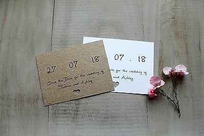 50 Personalised Wedding Magnet Save The Date Evening Cards Vintage Shabby Rustic