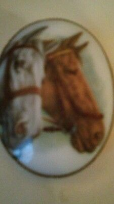 Equestrian Hand  Painted Oval Milk Glass Horse Heads Gold Plated Brooch