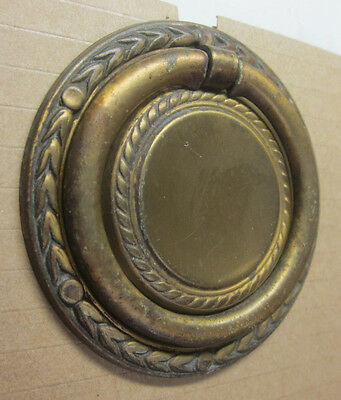 Antique ornate round drawer door drop bail pull handle wreath rim bronze 2-3/4""