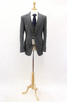 NWT Tom Ford Men's 100% Wool Blue-Gray Tweed 3-Piece Suit Size 48R/38R US