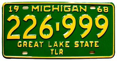 Vintage Michigan 1968 Trailer License Plate, Unused, Airstream Shasta Kenskill