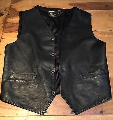 Vintage Mens Black Leather Waistcoat Biker Motorcycle Size M Fit Chest 38-40''
