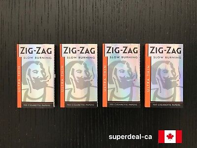 Zig-Zag Silver Ultra Thin Slow Burning Rolling Papers - 4 Packs